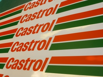 "Castrol Race & Rally Coloured Screentop Sunstrip Visor. 55""."