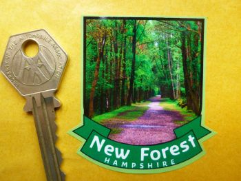 "New Forest Scroll Style Travel Sticker. 3.5""."