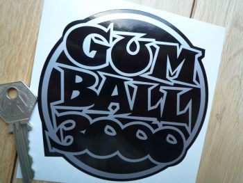"Gum Ball 3000 Black & Silver/White/Gold Sticker. 4.5""."