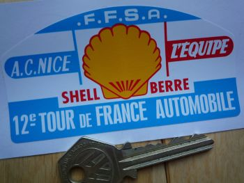 "12e Tour de France Automobile Rally Plate Style Sticker. 4"" or 6""."