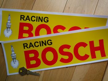 "Bosch Racing Yellow & Red Oblong Stickers. 8"", 11"" or 12"" Pair."