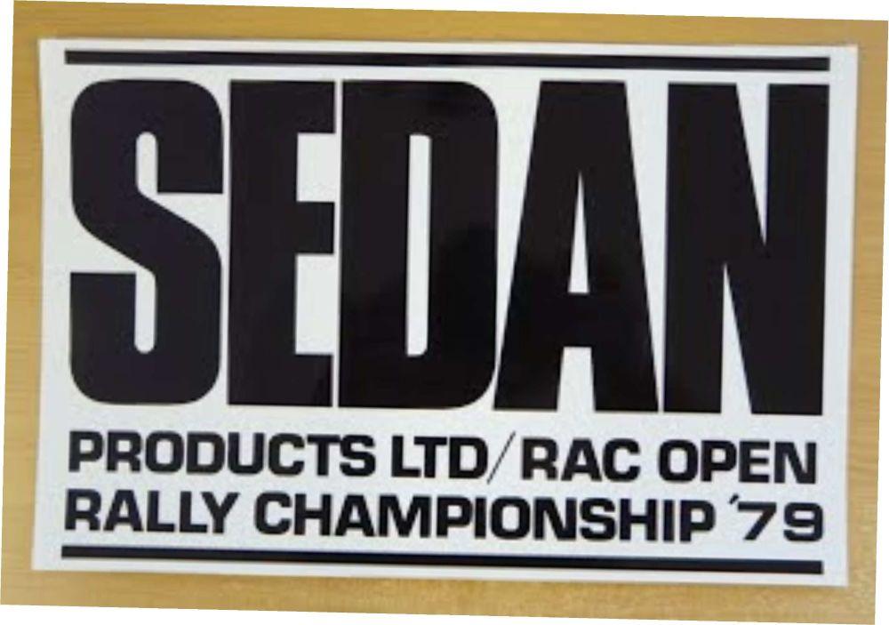 "Sedan RAC Rally Black & White Oblong Sticker. 12""."