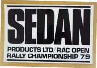 Sedan RAC Rally Black & White Oblong Sticker. 12