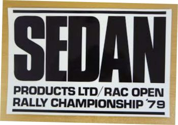 "Sedan RAC Rally Black & White Oblong Sticker. 12""."