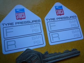 "Simca Tyre Pressure Stickers. 1.75"" Pair."