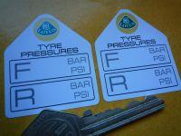 "Lotus Tyre Pressure Stickers. 1.75"" Pair."