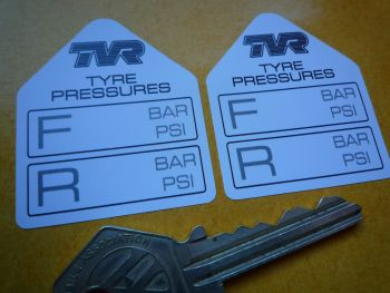 "TVR Tyre Pressure Stickers. 1.75"" Pair."