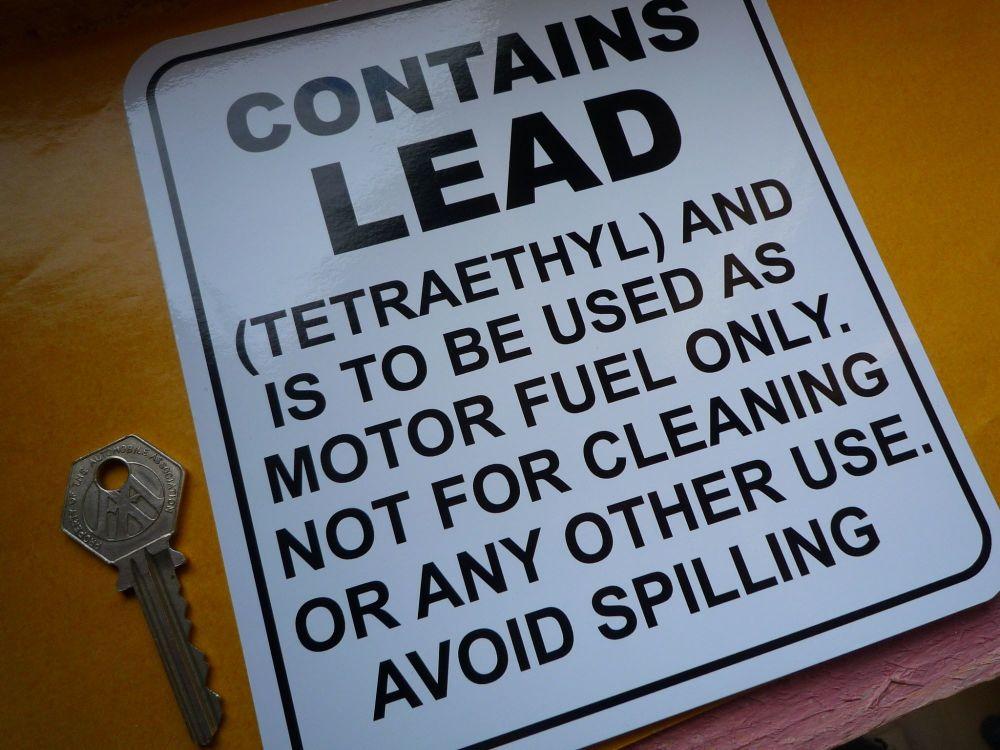 "Contains Lead Tetraethyl Petrol Pump Sticker. 6""."