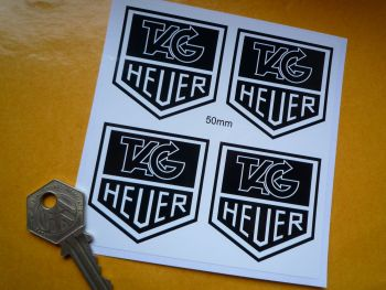 "Tag Heuer Black & White Stickers. Set of 4. 2""."