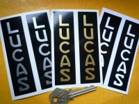 "Lucas Vertical Text Battery Stickers No.25. Various Colours. 4""."