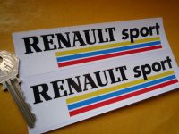 "Renault Sport Coloured Stripes Oblong Stickers. 6"" Pair."