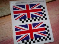 """Union Jack & Chequered Helmet Stickers. 2"""", 3"""", or 4"""" Pair."""