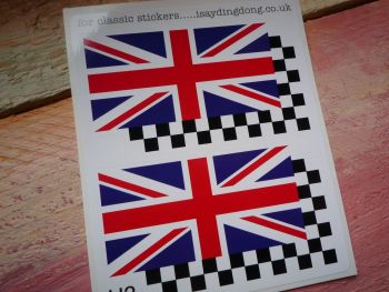 "Union Jack & Chequered Helmet Stickers. 2"", 3"", or 4"" Pair."
