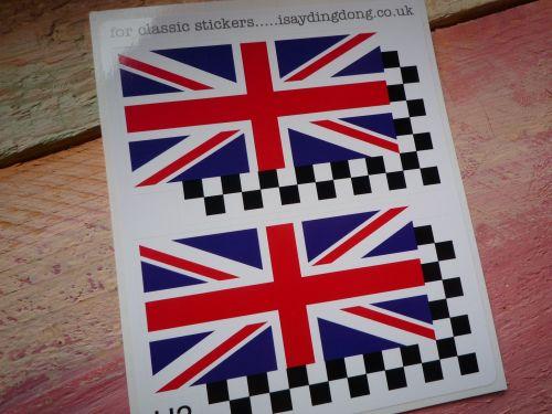 Union Jack & Chequered Helmet Stickers. 2