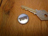 TVR Logo Coachline Style Circular Laser Cut Self Adhesive Car Badge. 22mm.