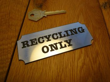 "Recycling Only Wall Plaque Bin Label Sign. 2.5""."