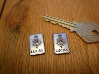 Lucas Electrical Ltd. Oblong Silver Style Self Adhesive Badges. 20mm Pair.