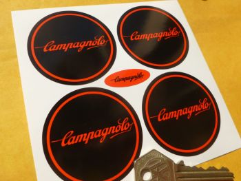 Campagnolo Red & Black Wheel Centre Stickers. 50mm or 55mm. Set of 4.