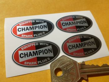 "Champion Spark Plugs 'Equipped With' Oval Stickers. Set of 4. 1.5""."