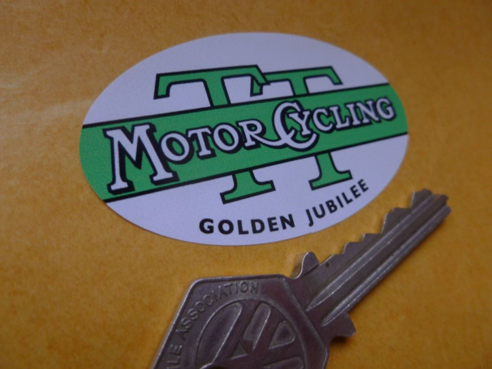 Isle Of Man TT Races 1957 Golden Jubilee Motor Cycling Magazine Oval Sticker. 65mm.