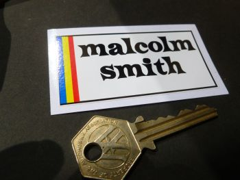 "Malcolm Smith Oblong Sticker. 3""."