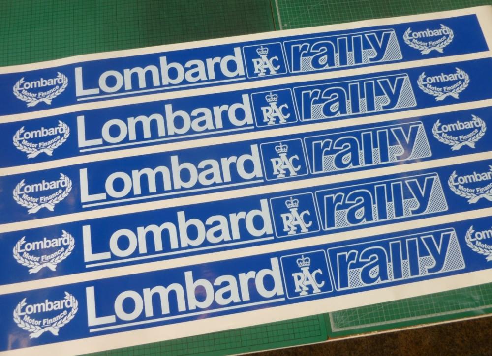 "Lombard RAC Rally White & Blue Screentop Sunstrip Visor. 45.5""."