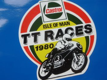 Isle Of Man TT Races Castrol 1980 Yamaha Sticker. 84mm.