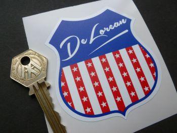 """DeLorean USA Shield Body or Window Sticker. 4""""."""