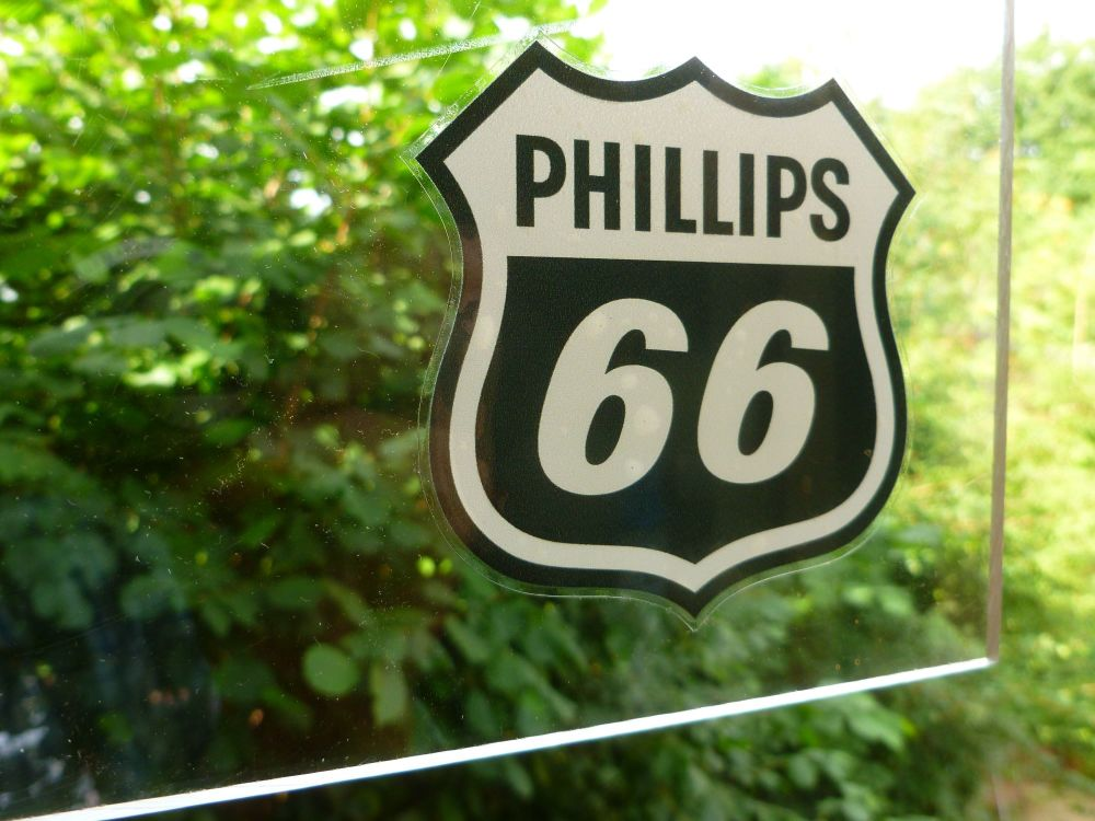 Phillips 66 Shield Shaped Black & Off Whie window Sticker 3