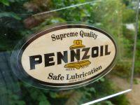 "Pennzoil Oval Shaped Black & Off White Window Sticker. 3.5"""