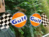 Gulf Chequered Flags Window Stickers. Handed 3