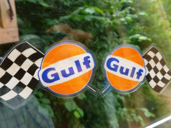 "Gulf Chequered Flags Window Stickers. Handed 3"" Pair."