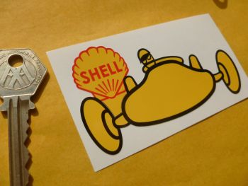 "Shell Old Racing Car Style Stickers. 4"" Pair."
