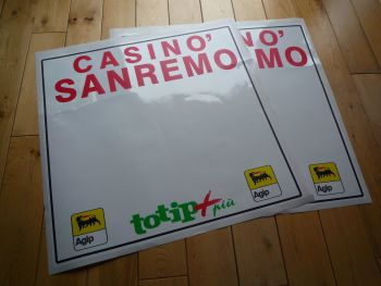 San Remo Rally ToTip Agip Style Door Panel Stickers. 400mm or 500mm Pair.