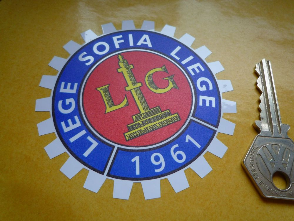 "Liege Sofia Liege 1961 Royal Motor Union Sticker. 3.25""."