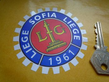 "Liege Sofia Liege 1961 Royal Motor Union Sticker. 3.25""."