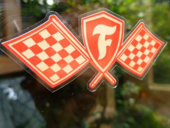 "Firestone Chequered Flags Red & Off White Window Sticker. 3"" or 4.25""."