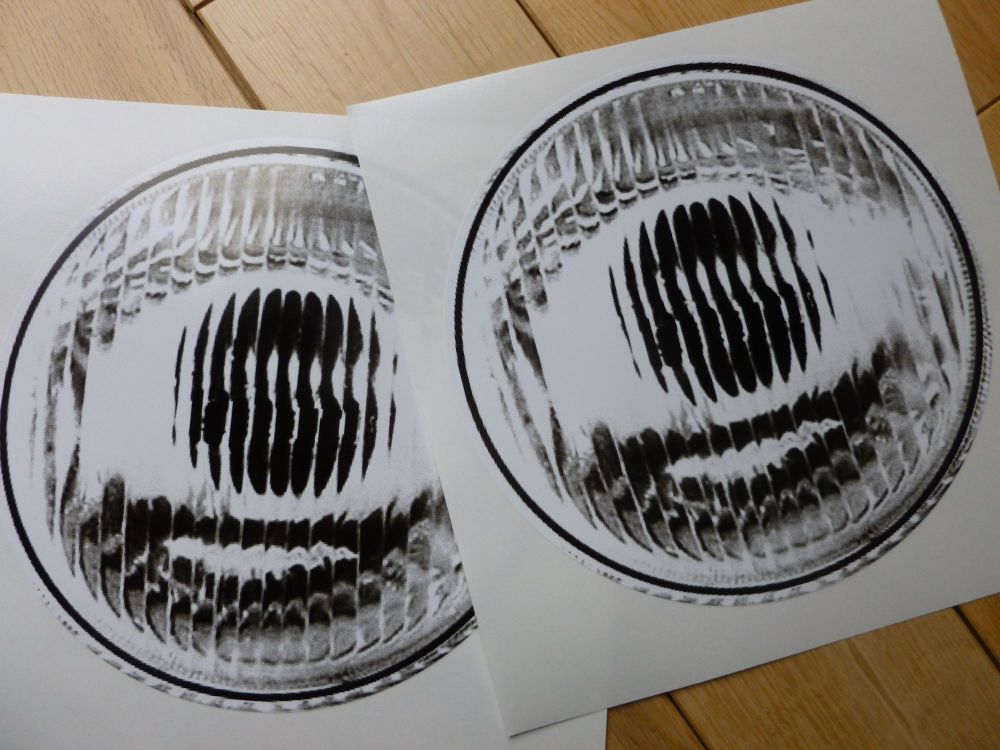 """Old Style False Headlights Headlamps Stickers. Race & Funny Car etc. 7"""" Pair."""