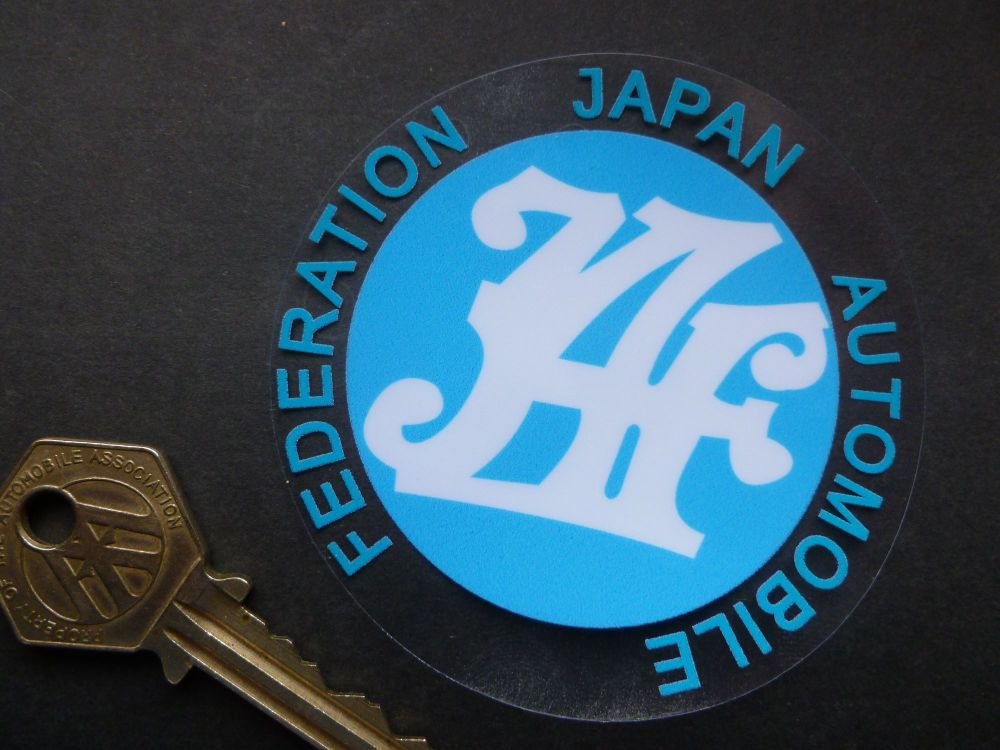 "Japanese Automobile Federation JAF Window Sticker. 3.25""."
