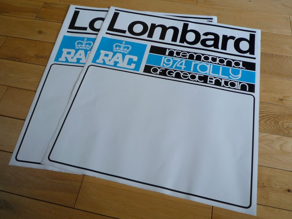 "Lombard RAC International 1974 or 1975 Rally of GB Door Panel Stickers. 20"" Pair."