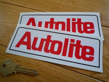 "Autolite Text Oblong Stickers. 6"" or 7"" Pair."