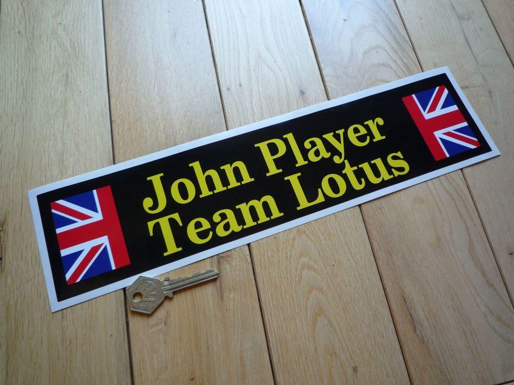 "John Player Team Lotus Oblong Sticker. Yellow & Black Style. 14""."