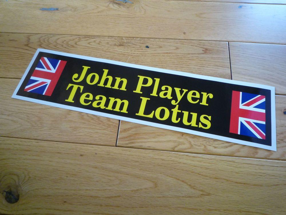 "John Player Team Lotus Oblong Stickers. Yellow & Black Style. 11"" Pair."