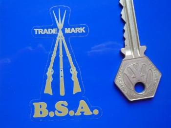 "BSA Piled Arms Gold & Clear Sticker. 2.5""."