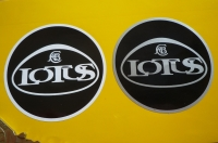Lotus GM Era Logo Circular Stickers. 60mm Pair.