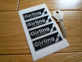 "Girling Gas Shocks Black & Silver Break Style Stickers. 2"". Set of 4."