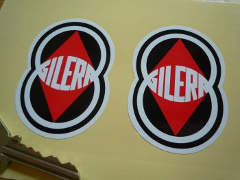 "Gilera. Red, Black, & White Shaped Stickers. 2.75"" Pair."