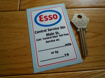 "Esso Central Service Station Service Sticker. 3.25""."