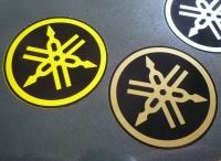 "Yamaha Tuning Forks Circular Stickers. 2"" Pair."