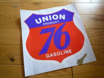 "Union 76 Gasoline Shield Sticker. 12""."